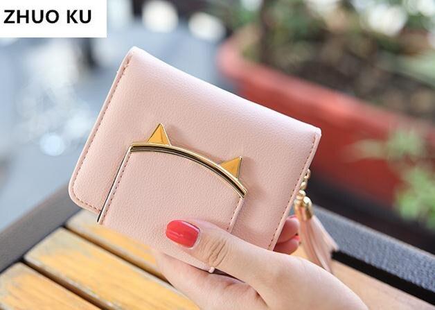 0b84f36519d US $15.66  2017 Korean Cute Cat Anime Leather Trifold Slim Mini Wallet  Women Small Clutch Female Purse Coin Card Holder Dollar Bag Cuzdan-in  Wallets ...
