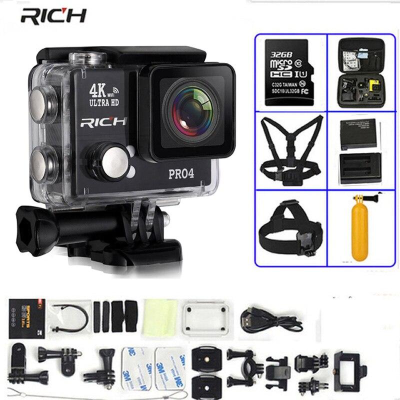 Camera Action Pro4 Réel 4 k 30FPS 16MP gopro son Intégré WIFI 170 Grand Angle Plongée 45 m Étanche Sport caméra