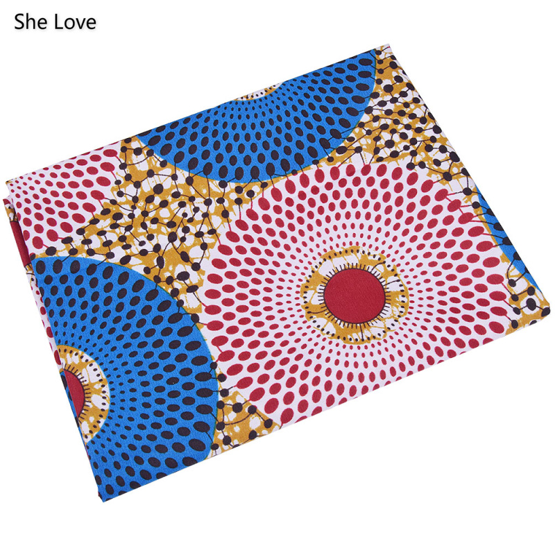 She Love 1 Yard Ankara African Polyester Wax Prints Fabric  DIY Material For Garments Craft Making Accessories 2