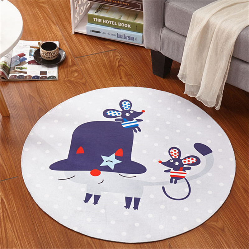 Kids Bedroom Carpet Cartoon Bear/Fox Round Rug 60-120cm Kid Room Play Carpet Livingroom Computer Chair Hanging Basket Puzzle Mat
