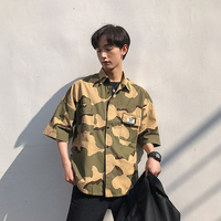 Summer Military Camouflage Shirt Men 2019 Fashion Stylish Casual Half Sleeve Shirts For Men Vintage Outdoor Dress Blouse Male