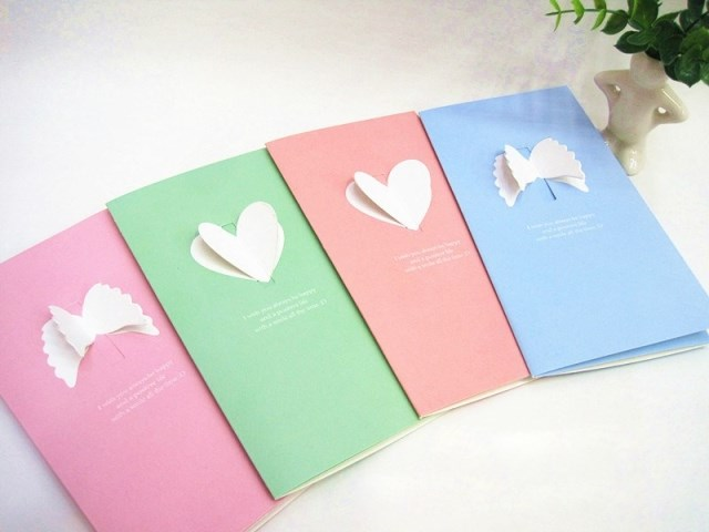 4PCS/LOT Wholesale Cutout Greeting Card Valentines Day Commercial Christmas Birthday Greeting Card Holiday Cards Free shipping