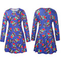 Europe and the United States women's new winter fashion long-sleeved dress printing cartoon Christmas dress