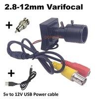CCTV Camera Mini Varifocal Lens 2.8 12mm with Connector and 5V to 12V USB Cable 800tvl Analog Security Surveillance Camera