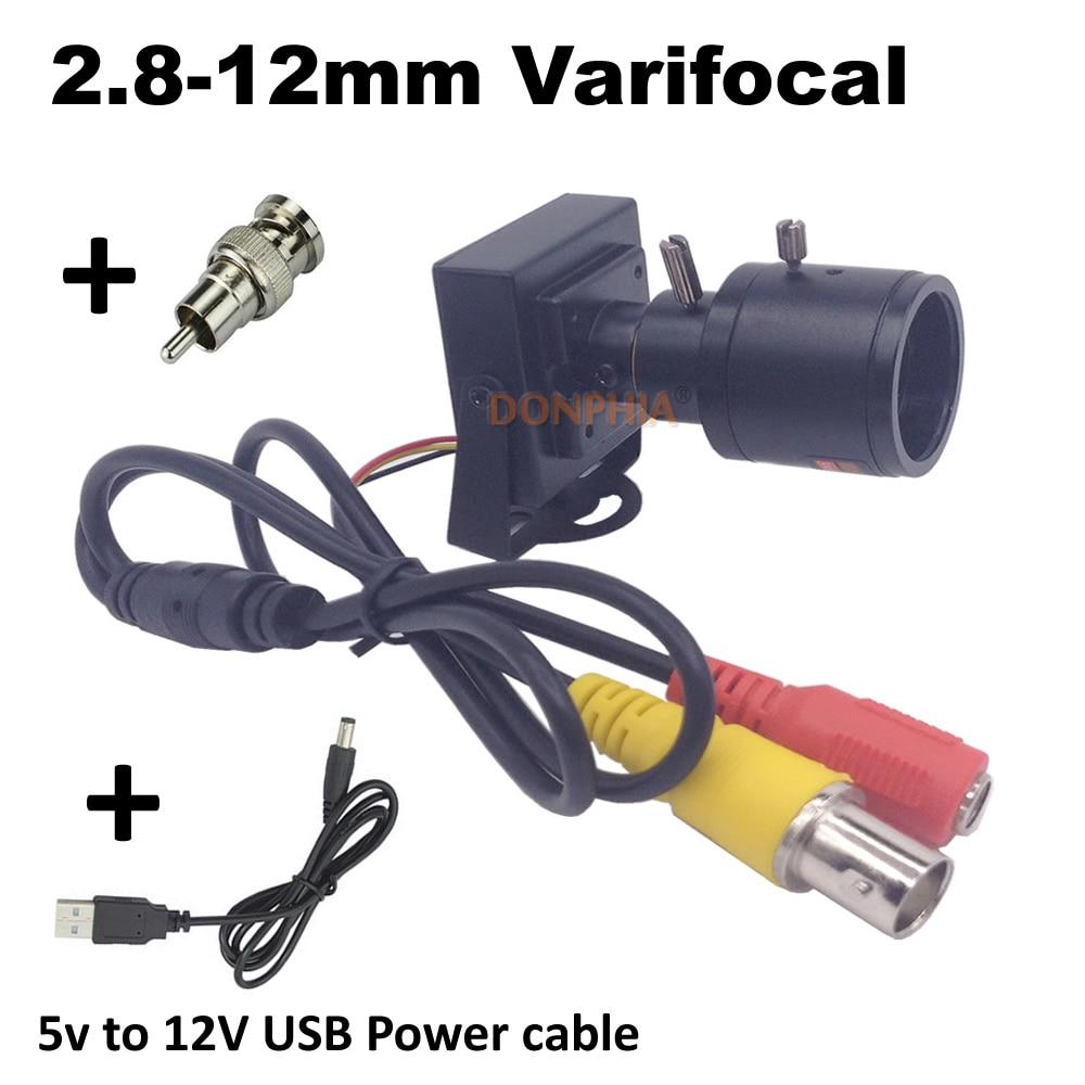 CCTV Mini cámara lente Varifocal 2,8-12mm con conector y 5 V a 12 V Cable USB 800tvl analógico cámara de vigilancia de seguridad