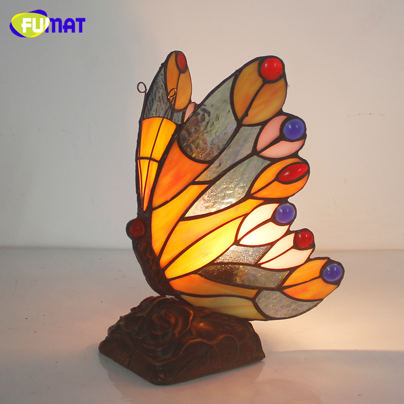 FUMAT Butterfly Night Lamp Stained Glass Light For Living Loom Bedside Lamps Home Deco Butterfly Lampshade Nursing Night Lights fumat stained glass ceiling lamp european church corridor magnolia etched glass indoor light fixtures for balcony front porch