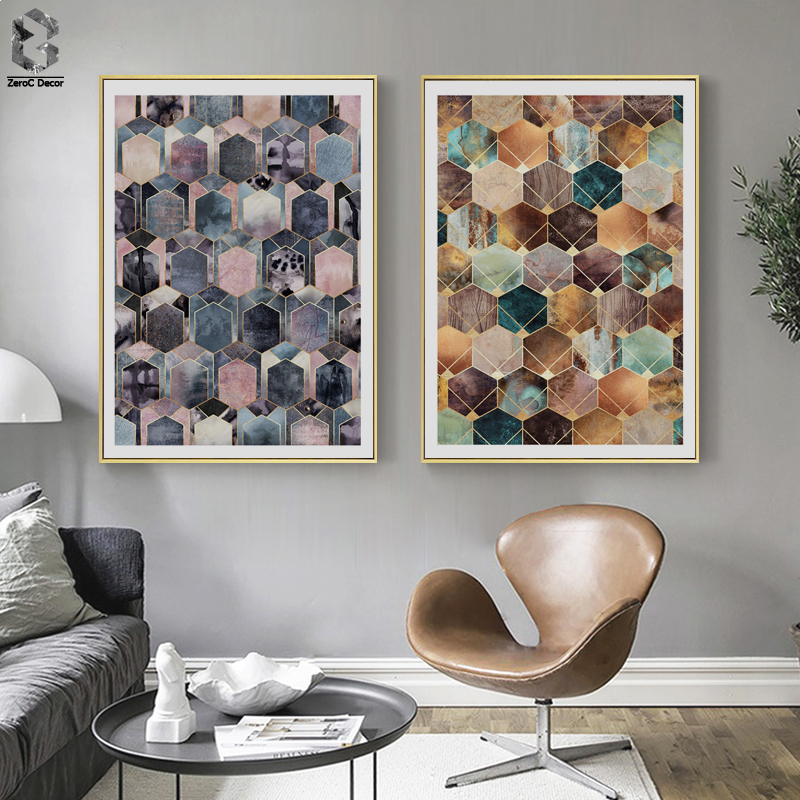 Vintage Wall Decor For Living Room.Us 5 51 37 Off Aliexpress Com Buy Abstract Geometric Cube Canvas Posters And Prints Vintage Wall Art Nordic Painting Picture For Living Room Home