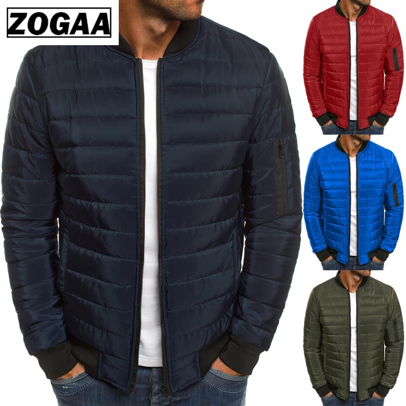 Zogaa 2019 Causal Puffer Jacket Mens Winter Solid Parka Warm Jackets Simple Zipper Pocket Stand Collar Jacket Winter