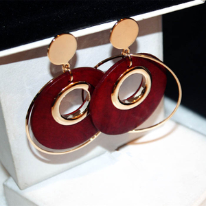 Europe USA fashion exaggeration big circle earring red black long wood earrings for women brincos grand brinco best gift jewelry
