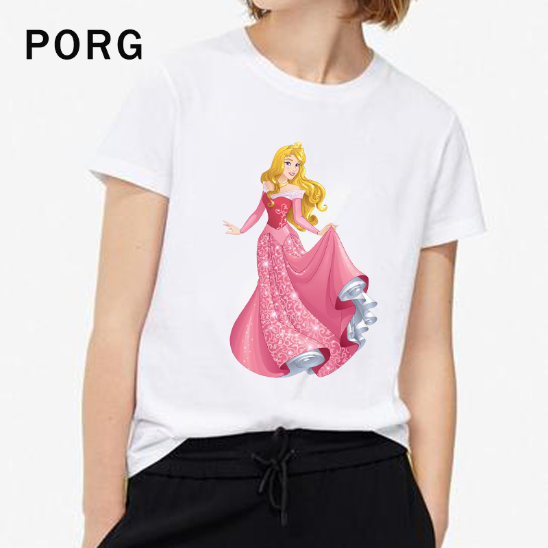 Disney Princess T-Shirt Harajuku Ulzzang Women TShirt Gothic Tops Korean Aesthetic Streetwear Women Camisetas Verano Mujer 2019