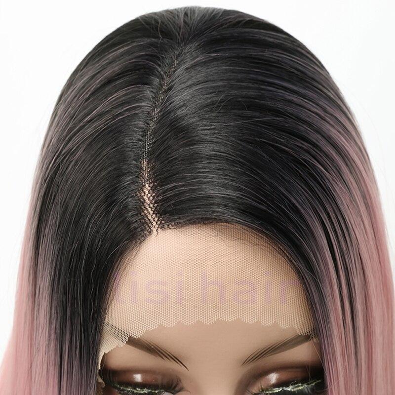 rosa longo reta perucas de renda dianteira