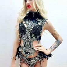 Bright Sequins Black Feather Bodysuit Stage Dancewear 4 Pieces Costume Female Si
