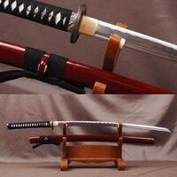 Brandon Swords Real Japanese Samurai Katana 1060 Carbon Steel Bo hi Blade Wave Hamon Full Tang Practice Sword Metal Home Decor