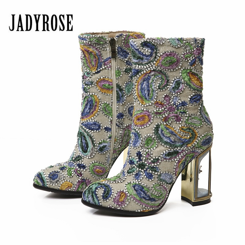 Jady Rose Ethnic Women Ankle Boots Birdcage Chunky High Heels 10CM Embroidery Botas Mujer Handmade Female Autumn BootsJady Rose Ethnic Women Ankle Boots Birdcage Chunky High Heels 10CM Embroidery Botas Mujer Handmade Female Autumn Boots