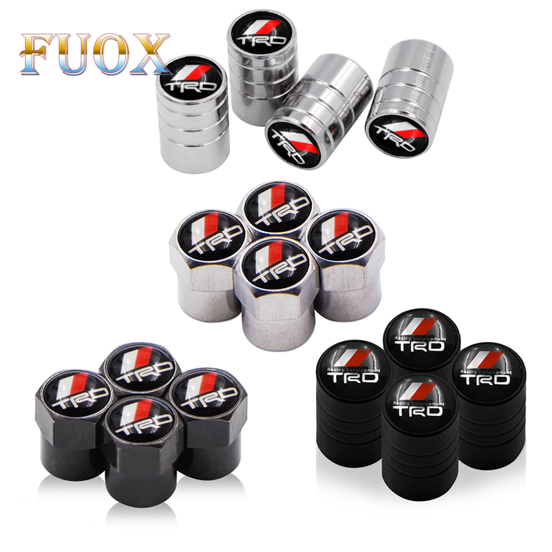 4PCS/set Auto Accessories Wheel Tire Parts Valve Stem Caps Cover For Toyota CROWN REIZ TRD Racing LOGO Tire Car Styling Sticker