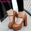 VALLKIN 2017 Platform Thick High Heel Women Pumps Round Toe Party Shoes Concise Mary Janes Beige Women Wedding Shoes Size 34-39
