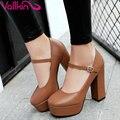 Vallkin 2017 plataforma gruesa del alto talón de las mujeres bombas de punta redonda partido Zapatos Mary Janes Beige Conciso Mujeres Zapatos de Boda del Tamaño 34-39