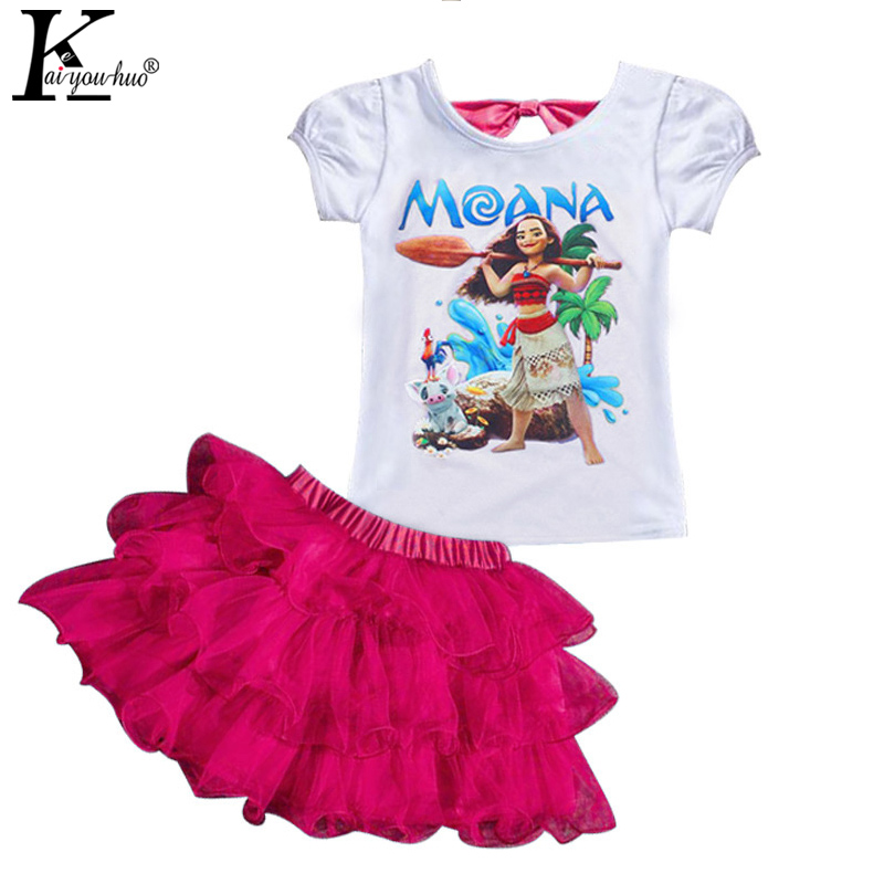 KEAIYOUHUO 2017 MOANA Girls Clothes Sets T shirt Tutu Skirt Suit Children Clothing Sets 2017 Summer