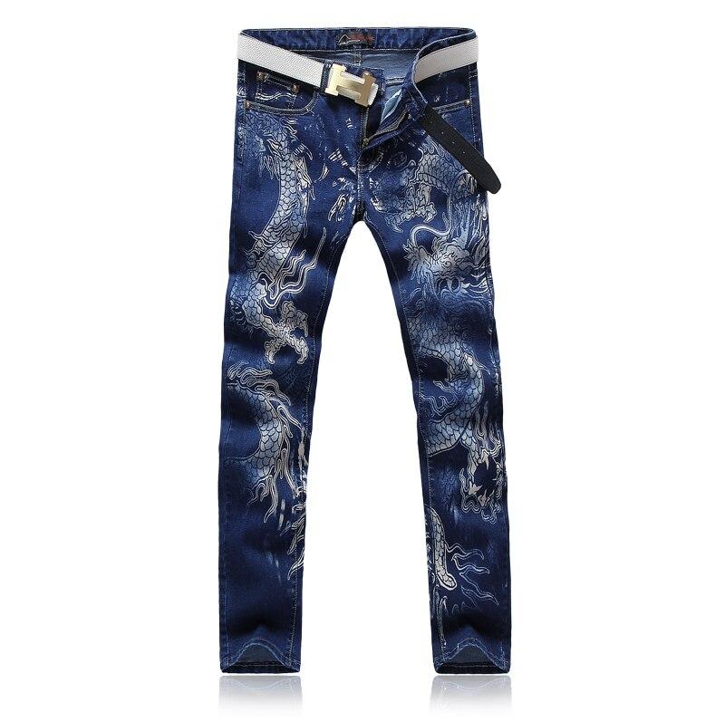 Men blue print dragon jeans pants stage wear Plus size 28 36 causal slim male singers
