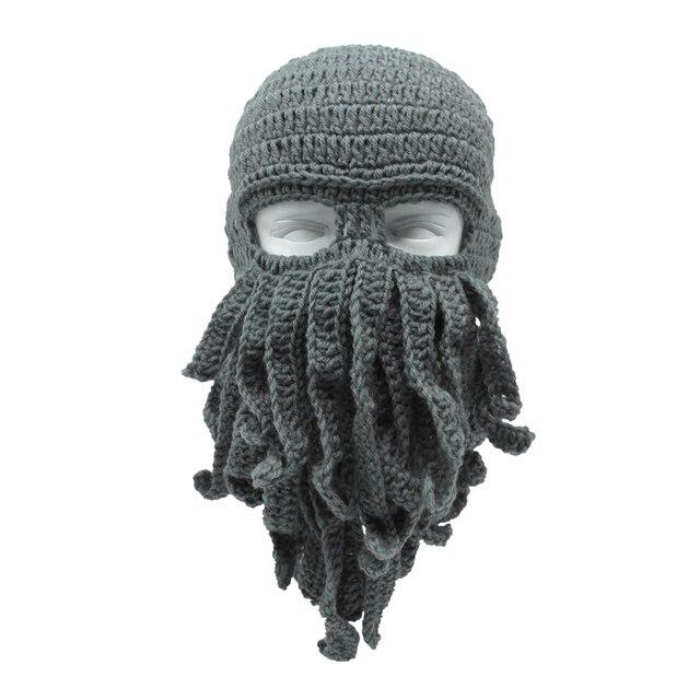 23b610cc30d Funny Men s Women s Barbarian Vagabond Beanie Beard Octopus Winter Hats  Crocheted Beanies Unisex Halloween Xmas Gifts