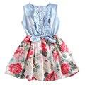 Marca de Luxo De verão Bebê Criança Roupas de Algodão Floral Crianças Vestidos Princesa vestido de Festa Menina Infantil Vestido de Dama de Honra Trajes Casuais