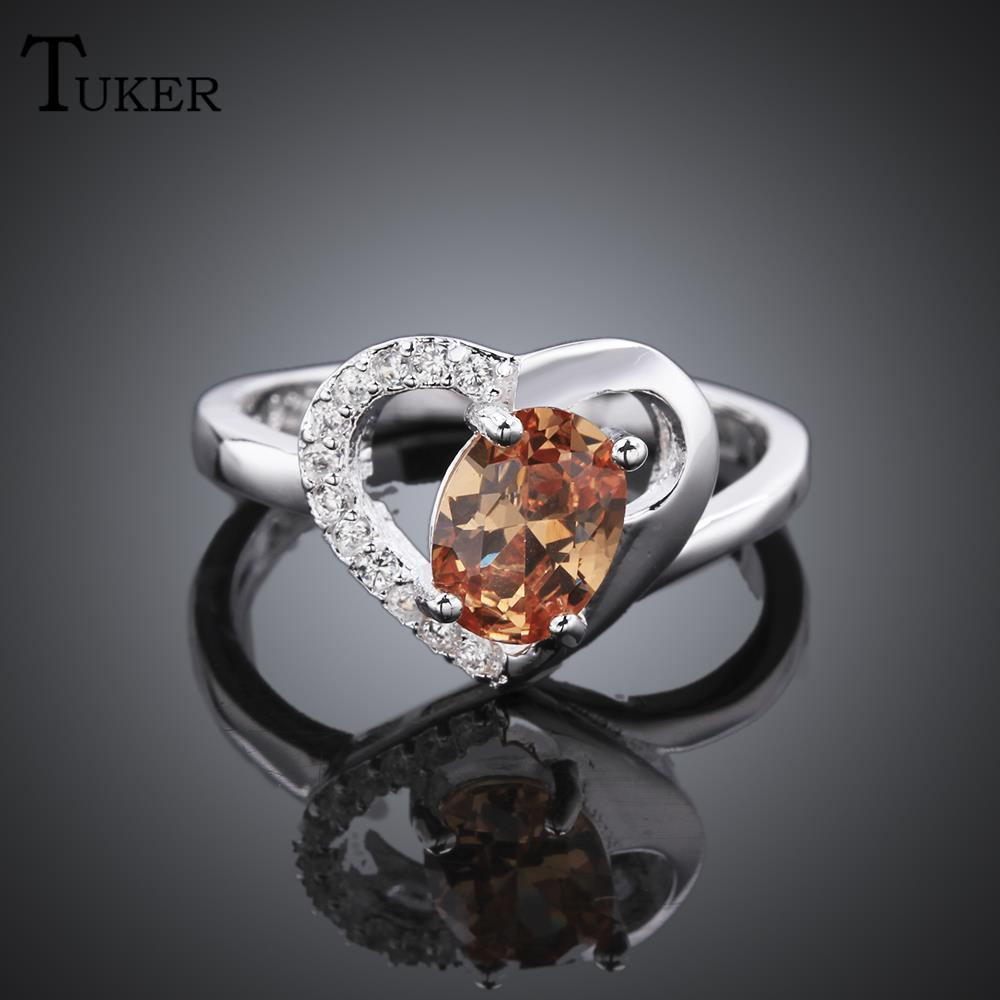 fashion multicolor rings for women fashion selling heart shaped cubic zirconia rose gold color wedding finger - Selling Wedding Ring