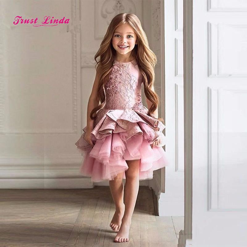 Dark Pink Lace Cute Sleeveless Lace Appliques   Flowers     Girl     Dress   2018 Hot Tiered Christmas Pageant   Girls   Party   Dress   Prom Gowns