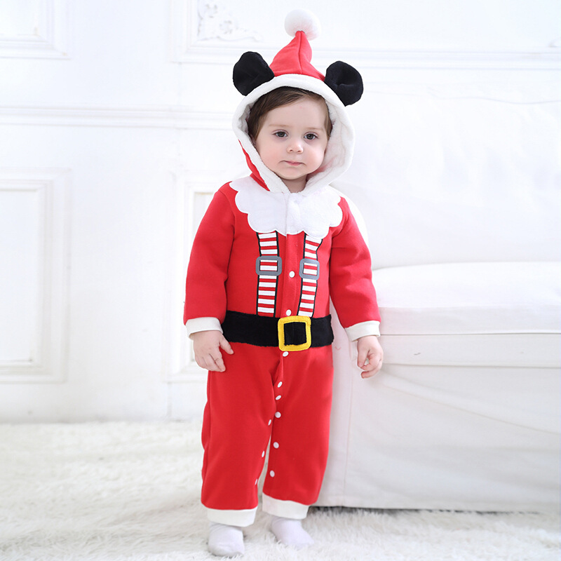 Christmas Costume Baby Boys Girls Cosplay Santa Claus Rompers Newborns Hooded Clothes Infant Winter Jumpsuit Overall Clothing christmas gift 2016 hot baby jumpsuit santa claus clothes kids overalls newborn boys girls romper children costume