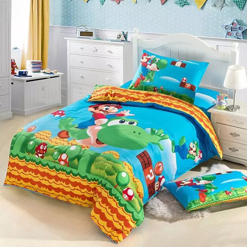 hot sell super mario bedding set girls twin full size bedding kids duvet cover boys 100 cotton. Black Bedroom Furniture Sets. Home Design Ideas