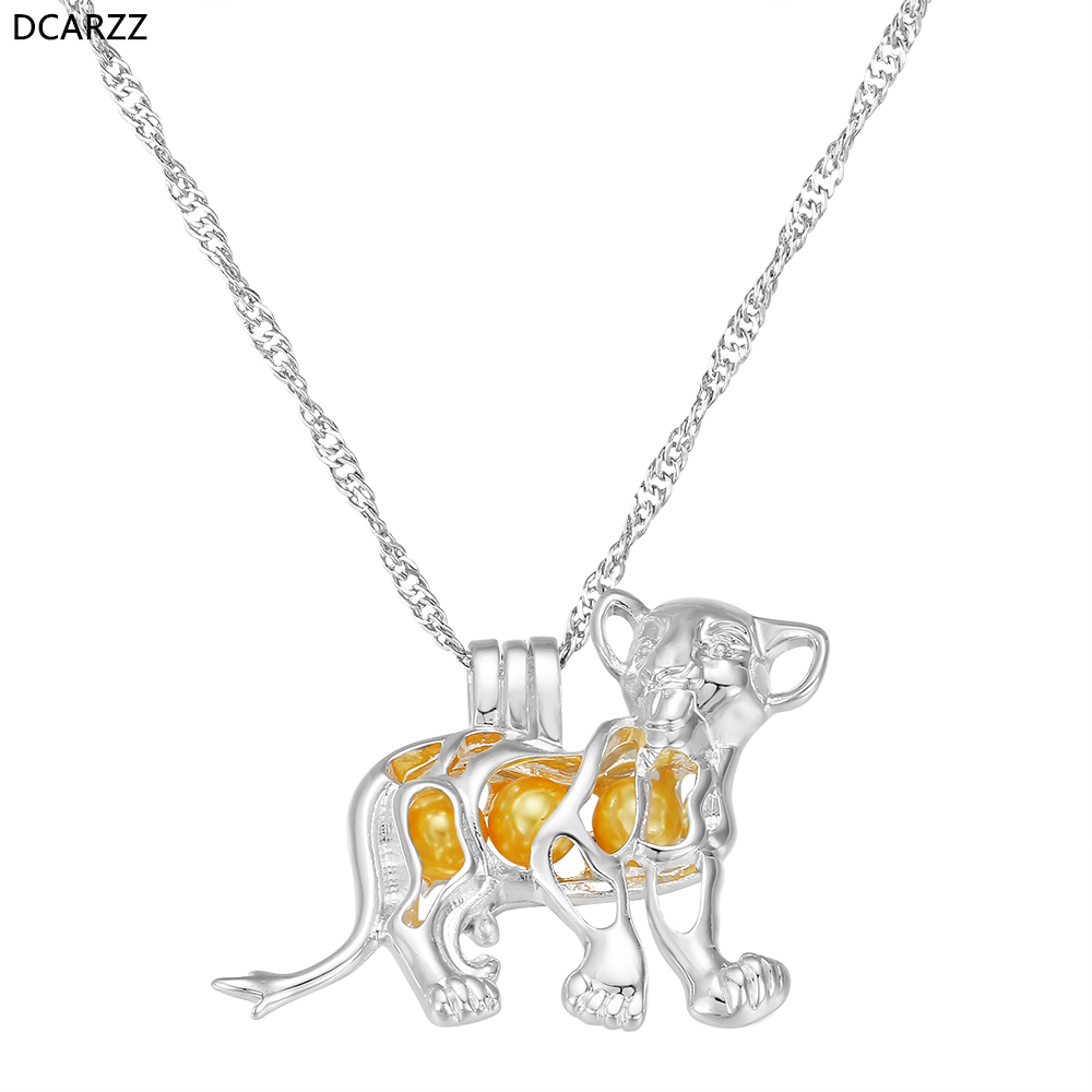 Lion King Simba Necklace Pearl Cage Pendant Necklace Pearl Beads Locket DIY Kids Cartoon Jewelry Wholesale