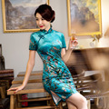 TIC-TEC chinese cheongsam short qipao women velvet print slim classical tradicional elegant party oriental dresses clothes P3090