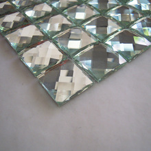 Glossy silver color 13 faced diamond mirror glass mosaic tile luxury fashion tiles for kitchen backsplash