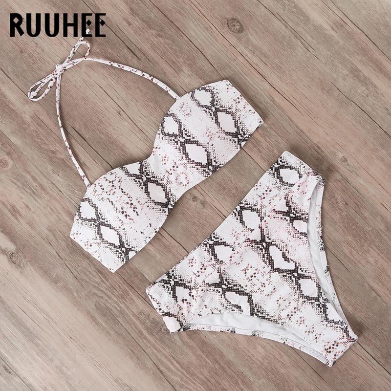 RUUHEE Swimsuit Women Bikini-Set Strap Bandage High-Waist Female Beachwear Detachable
