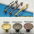Único Buraco Botão CC 96mm/128mm vermelho cobre/Antique Brass/cor Dourada Cozinha de Luxo Alças armários Puxa
