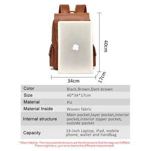 """Image 5 - Travel Laptop Men Backpack Business PU Leather Bag for 14"""" Computer Water Resistant School College Backpacks Male Zipper Solid"""