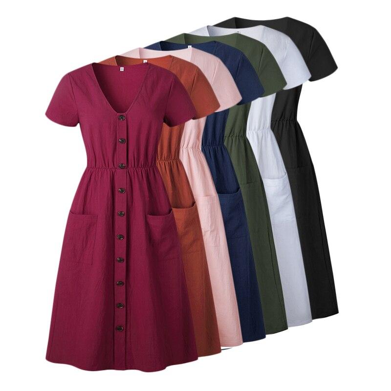 183fb6bc41a 2018 summer cotton vintage dress women tunic v-neck short sleeve Solid pink midi  dresses pocket casual vestidos female dresses