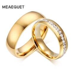 Meaeguet Faixas de Casamento Do Aço Inoxidável da cor do Ouro de Cristal Brilhante Anel para Feminino Masculino Jóias 6mm Anel de Noivado EUA Tamanho 5-13