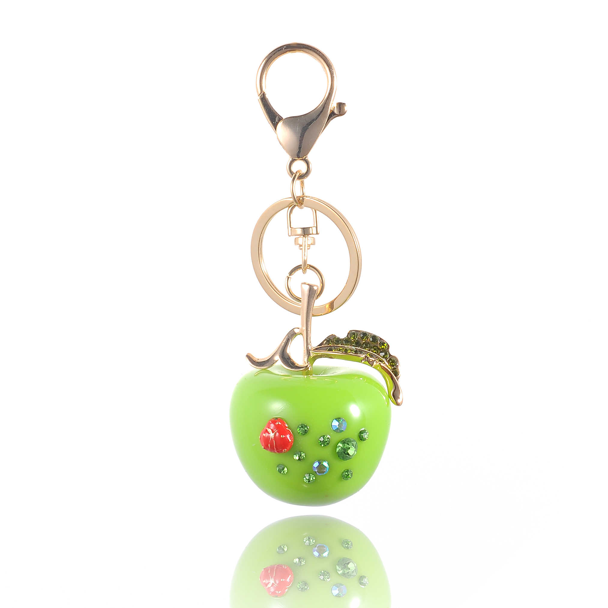 High Quality Drip Alloy Keychain Chaveiro drop oil Glaze apple gold-color rhinestone beads crystal KeyChain stainless Key Ring