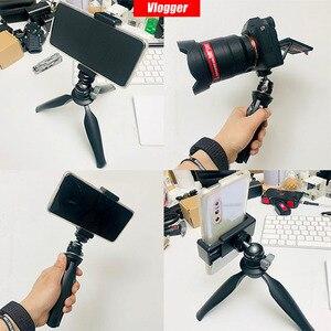 Image 5 - Vlogger universal tripé bola de cabeça com sapata fria montar 1/4 parafuso para led luz mic rápida cabeça bola instal dslr câmera cabeça