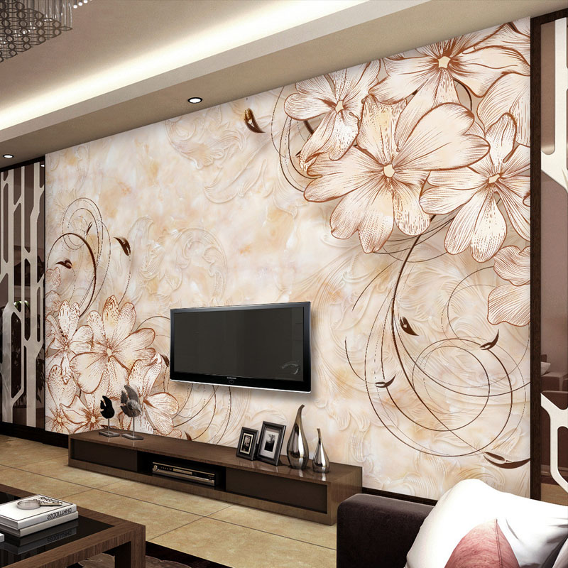 Buy elegant wall mural flower pattern for 3d wall designs bedroom