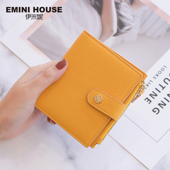 EMINI HOUSE 4 Colors Genuine Leather Bifold Women Wallet Card Holder Organizer Ladies Purse Hasp Short Wallet Mini Wallet Women Wallets
