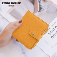 EMINI HOUSE 4 Colors Genuine Leather Bifold Women Wallet Card Holder Organizer Ladies Purse Hasp Short Wallet Mini Wallet