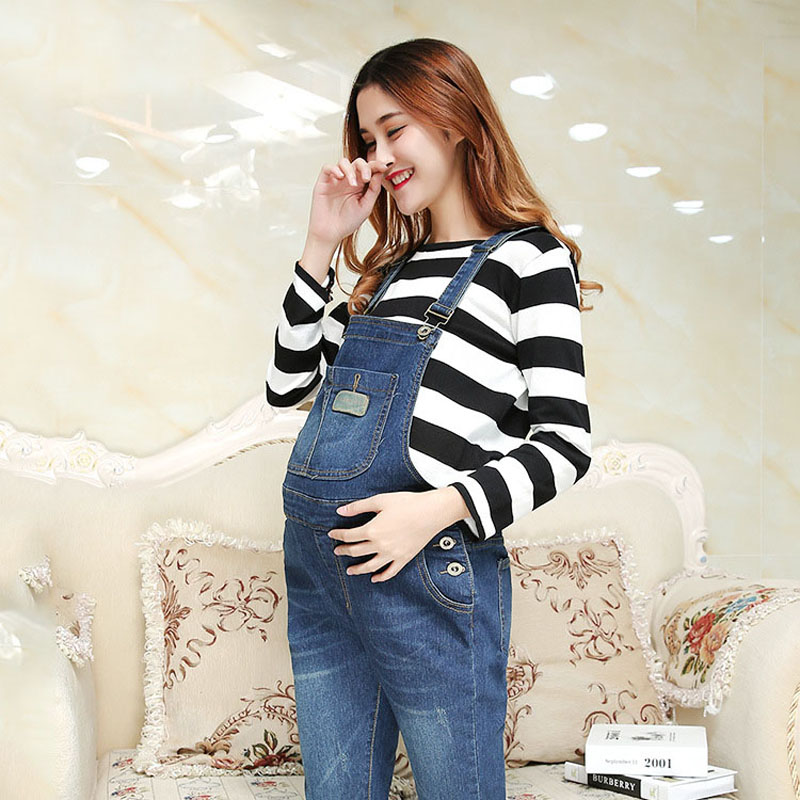 Adjustable Waist Denim Maternity Jeans Suspenders Pants Bib Prop Belly Overalls Braced Jumpsuits For Pregnant Women Uniforms