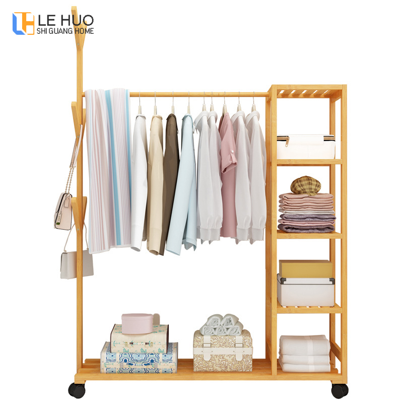 Bamboo wood coat rack with wheel Organization Storage Shelf can move drying racks home living room bedroom Wardrobe hangerBamboo wood coat rack with wheel Organization Storage Shelf can move drying racks home living room bedroom Wardrobe hanger