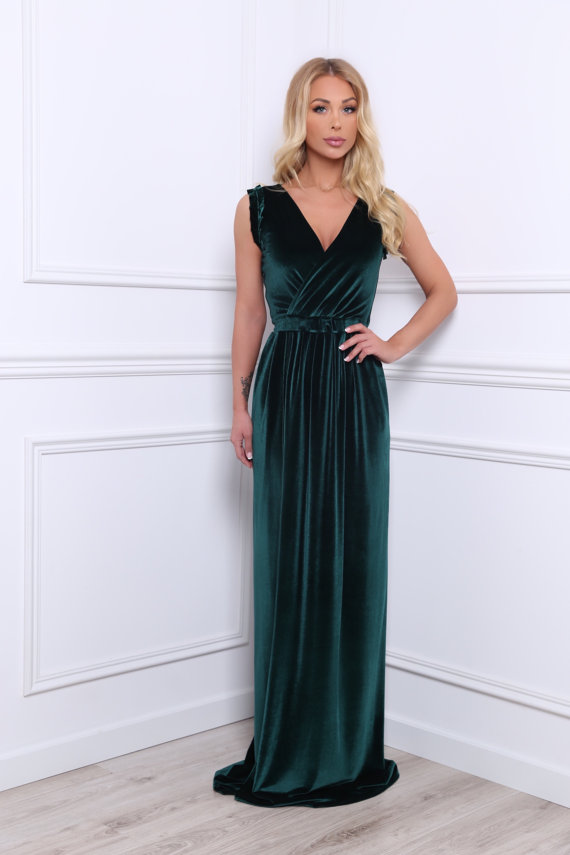 74d4e47b2dacc Dark Green Maxi Dress Velvet Slit Wrap V Neck Evening Dresses A Line ...