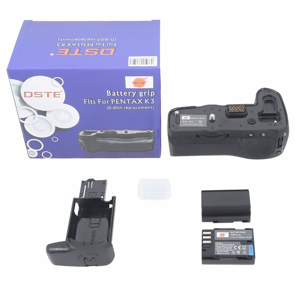 DSTE D-BG5 Battery Grip + 2pcs D-LI90 Battery for Pentax K3 K3II DSLR Camera dste bp88b аккумулятор для samsung mv900 mv900f цифровая камера