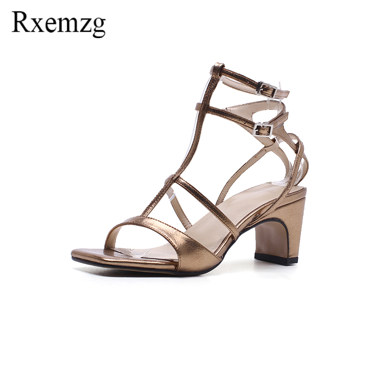 Rxemzg genuine leather women sandals T strap high heels footwear open toe narrow band shoes woman