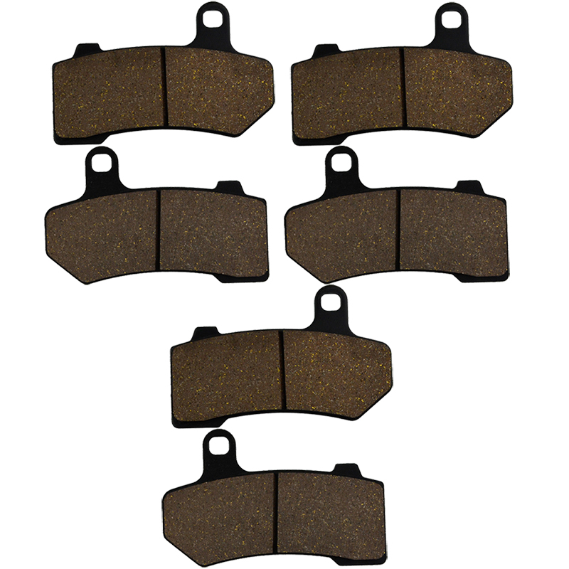 3 pairs AHL Front & Rear Motorcycle Brake Pads For Harley Davidson V-Rod Street & Night Rod Muscle (2005-2014) VRSCR VRSCD wotefusi hot 3 pairs motorcycle front rear brake pads for honda nsr250 new [st12]