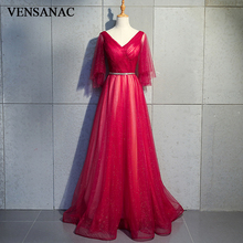 VENSANAC V Neck Sequined Long Evening Dresses 2018 Elegant A Line Lace Party Crystal Sash Backless Prom Gowns