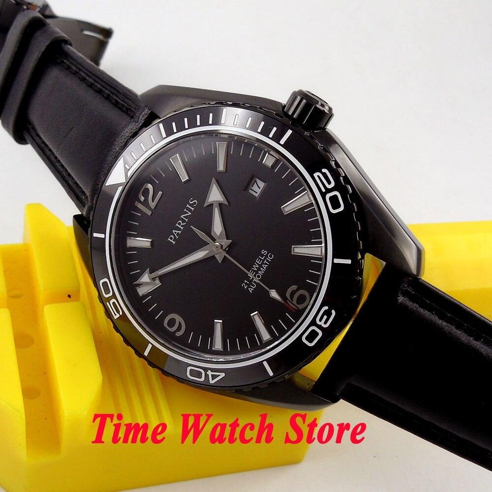 Parnis watch 45mm black dial PVD case Sapphire Glass 21 jewels MIYOTA Automatic Self-Winding movement Men's watch 305 цена и фото